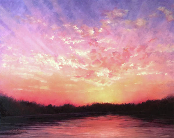 Landscape Art Print featuring the painting Lake Sunset by Teri Rosario