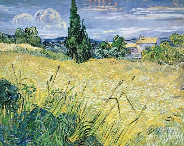 Vincent Van Gogh Art Print featuring the painting Landscape with Green Corn by Vincent Van Gogh