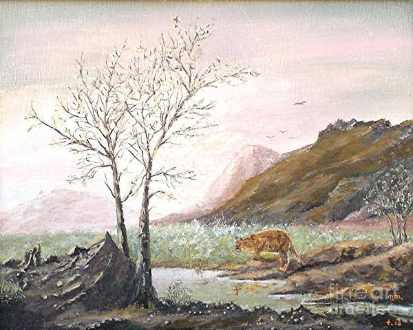 Landscape With Mountain Lion Art Print featuring the painting Landscape with mountain lion by Nicholas Minniti