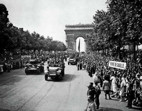 Paris Art Print featuring the photograph Liberation of Paris Parade - 1944 by War Is Hell Store