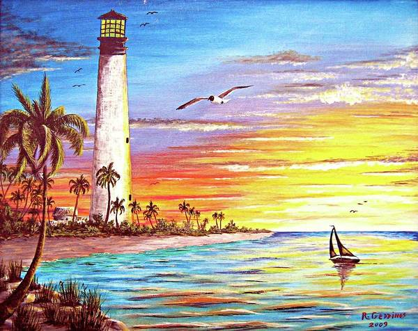 Lighthouse Art Print featuring the painting Lighthouse Sunrise by Riley Geddings