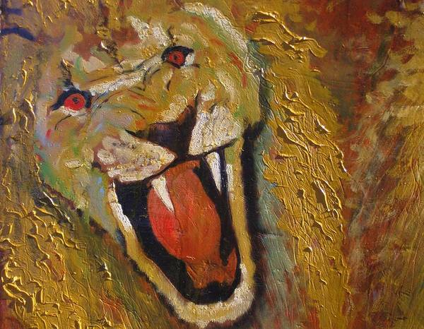 Lion Art Print featuring the painting Lion one by J Bauer