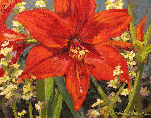 Red Flower Blossom Art Print featuring the painting Lone Beauty by L Diane Johnson