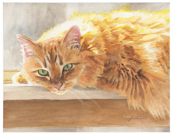 Www.miketheuer.com Orange Maine Coon Cat Watercolor Portrait Art Print featuring the painting Long-hair Cat by Mike Theuer