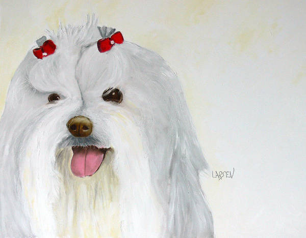 Art Print featuring the painting Maltese by Dick Larsen