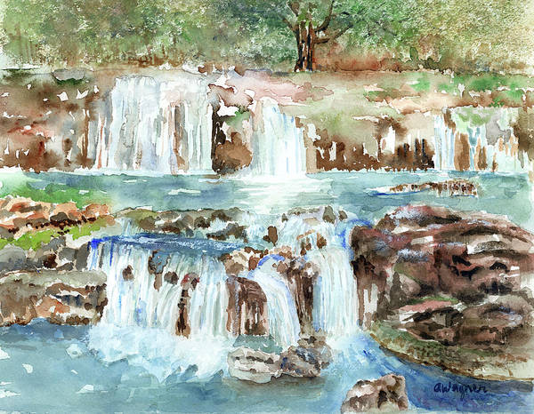 Waterfall Art Print featuring the painting Many Waterfalls by Arline Wagner