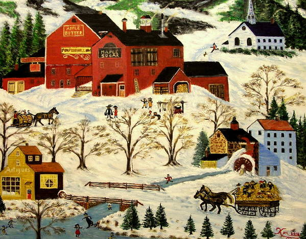 Folk Art Art Print featuring the painting Maple Syrup Factory by Kenneth LePoidevin