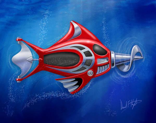 Fish Art Print featuring the digital art Mechanical Fish 1 Screwy by David Kyte