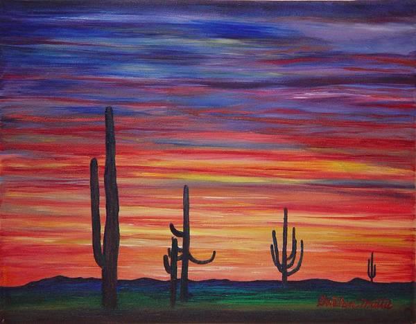 Landscape Art Print featuring the painting Mesa Sunset by Gretchen Matta