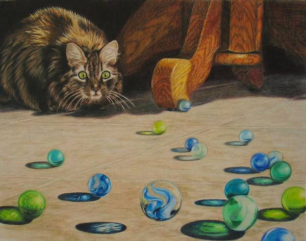 Cats Art Print featuring the drawing Mighty Hunter by Karen Ilari