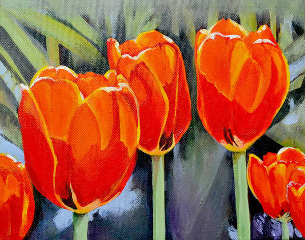 Tulip Art Print featuring the painting Moment in the Sun 3 by Mary Chant