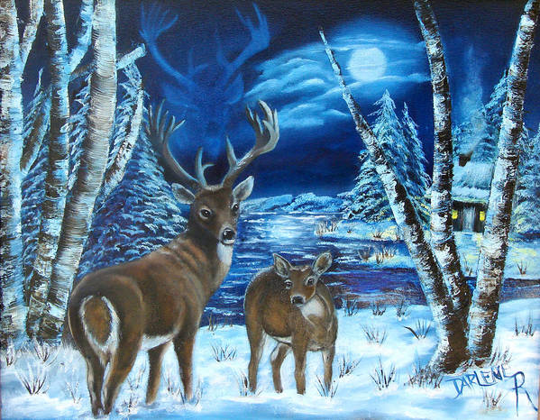 Deer Art Print featuring the painting Moonlight Walk by Darlene Green