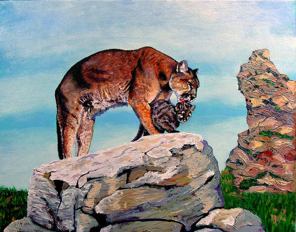 Cougars Art Print featuring the painting Mother and Cub by Stan Hamilton