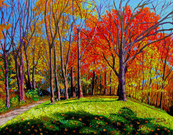 Trees Autumn Hill Grass Sunshine Shadows Sky Colors Path Art Print featuring the painting Nashville North by Stan Hamilton