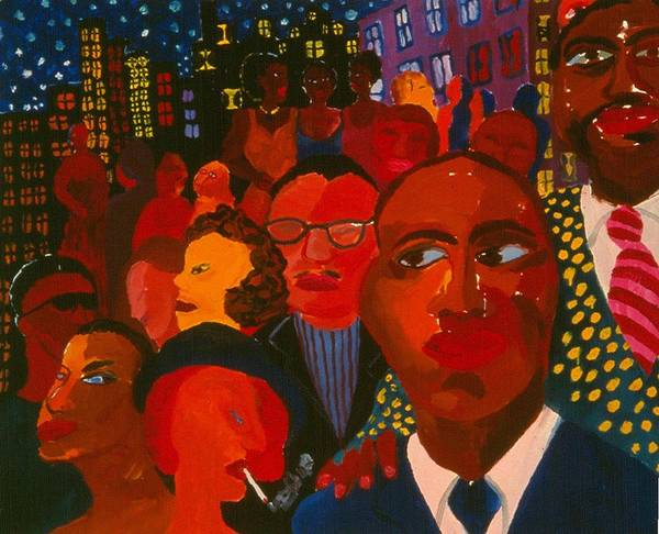 People Of All Kinds Against Night Cityscpe With Sparkeling Stars. Art Print featuring the painting Nightpeople by Nina Talbot