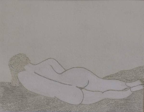 Nude Study; Silver Point Art Print featuring the drawing No.322 by Vijayan Kannampilly