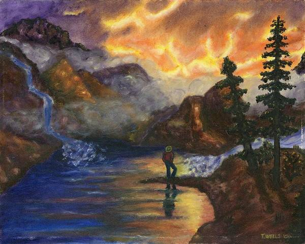 Mountains Art Print featuring the painting Observation of Beauty by Tanna Lee M Wells
