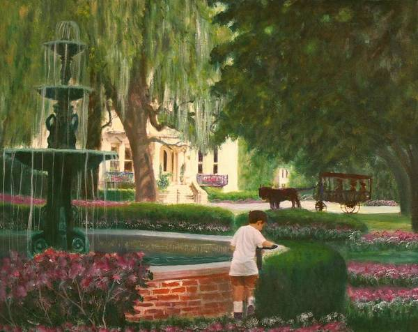 Savannah; Fountain; Child; House Art Print featuring the painting Old And Young Of Savannah by Ben Kiger