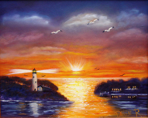 Sunset Art Print featuring the painting One glorious sunset by Darlene Green