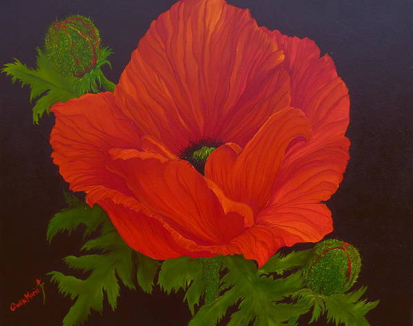 Poppies Art Print featuring the painting Opium Lace by Gwen Rose