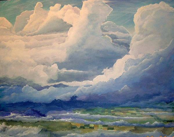 Clouds Art Print featuring the painting Over Farm Land by John Wise