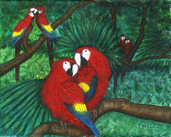 Parrots Art Print featuring the painting Parrots Preening by Tanna Lee M Wells