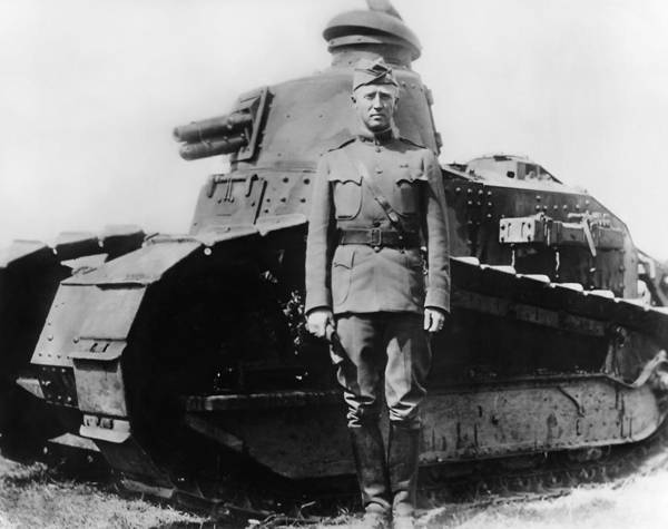 George Patton Art Print featuring the photograph Patton Beside a Renault Tank - WWI by War Is Hell Store