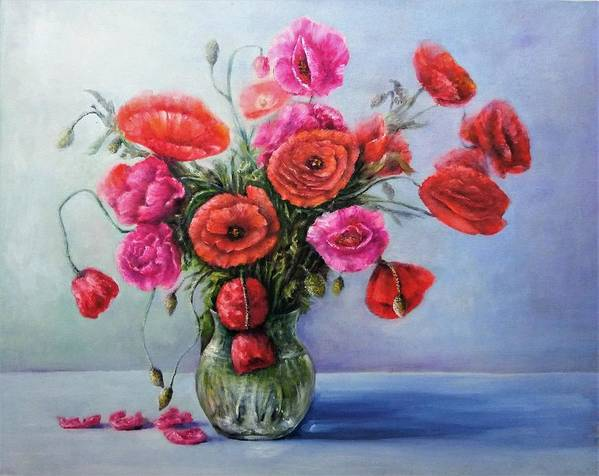 Flowers Painting Art Print featuring the painting Poppy Flowers by Natalja Picugina