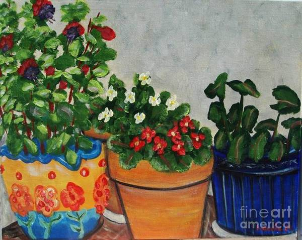 Ceramic Pots Art Print featuring the painting Pots Showing Off by Laurie Morgan