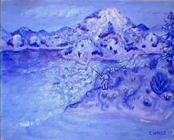 Monochromatic Purple Mountains Art Print featuring the painting Purple Majesty by Tanna Lee M Wells