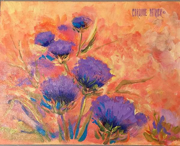Thistles Art Print featuring the painting Purple Thistles by Caroline Patrick