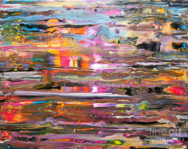 Vibrant Colorful Wet-looking Abstract Rain O A Window Pane Pink Orange Blue Yellow Black White Art Print featuring the painting Rain on my window by Priscilla Batzell Expressionist Art Studio Gallery