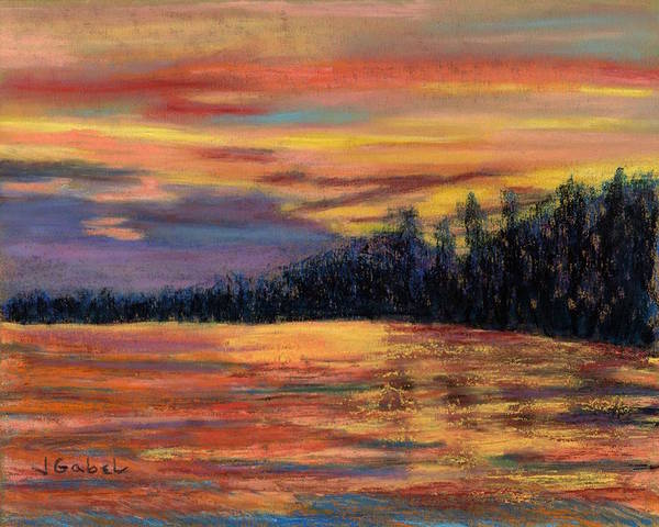 Pastel Art Print featuring the pastel Rainbow Evening by Laura Gabel