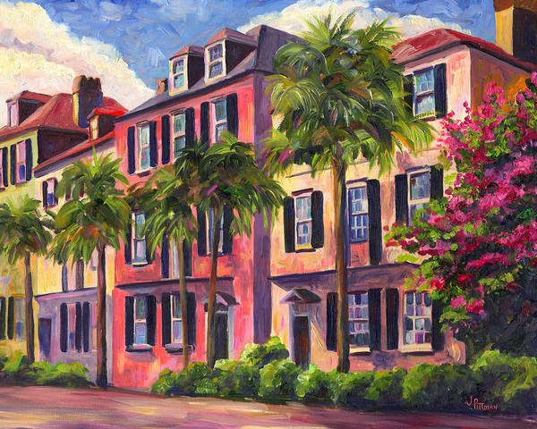 Rainbow Row Art Print featuring the painting Rainbow Row Charleston Sc by Jeff Pittman