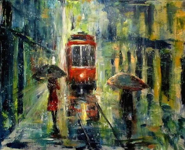 Landscape Art Print featuring the painting Rainy Fantasy by Natalja Picugina