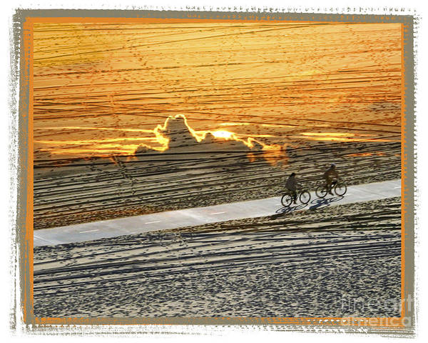 Beach Art Print featuring the digital art Riding off into the Sunset by Chuck Brittenham