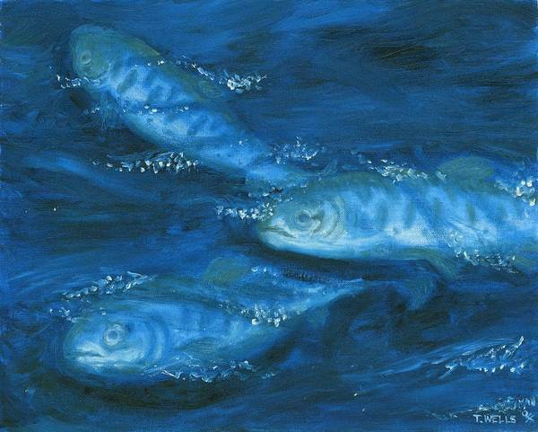 Salmon Swimming Art Print featuring the painting Salmon Swimming by Tanna Lee M Wells
