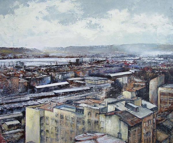 Santander Art Print featuring the painting Santander Panoramic by Tomas Castano