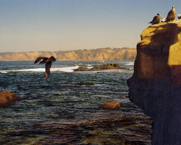 Ocean Art Print featuring the digital art Sea Cliff by Steve Karol