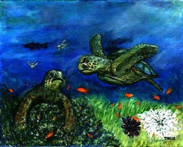 Sea Turtle Art Print featuring the painting Sea Turtle Rendezvous by Tanna Lee M Wells
