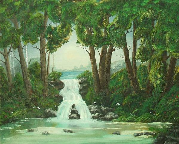 Waterfall Art Print featuring the painting Serenity by Brandy House