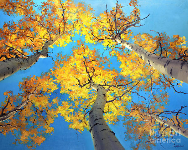Aspen Trees Birch Gary Kim Oil Print Art Nature Scenes Hospital Healing Environment Patient Santa Fe Fall Trees Autumn Season Beautiful Beauty Yellow Red Orange Fall Leaves Foliage Autumn Leaf Color Mountain Oil Painting Original Art Horizontal Landscape National Park America Morning Nature Wallpaper Outdoor Panoramic Peaceful Scenic Sky Sun Travel Vacation View Season Bright Autumn National Park America Clouds Landscape Natural New Painting Oil Original Vibrant Texture Reflections Bluesky Art Print featuring the painting Sky High Aspen Trees by Gary Kim