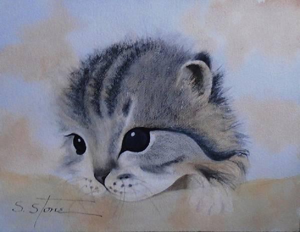 Animal Portrait Art Print featuring the painting Sleepy Kitten by Sandra Stone