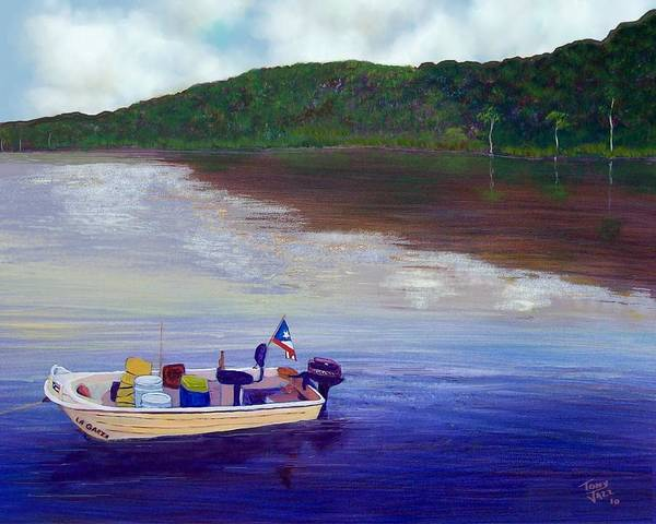 Fishing Art Print featuring the painting Small Fishing Boat by Tony Rodriguez