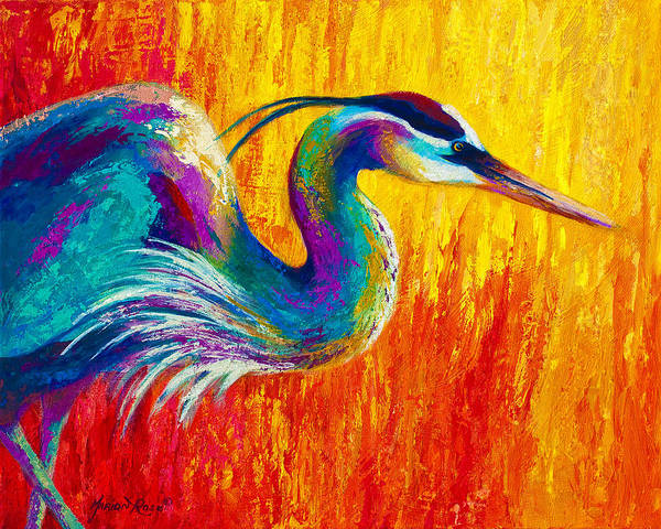 Heron Art Print featuring the painting Stalking The Marsh - Great Blue Heron by Marion Rose