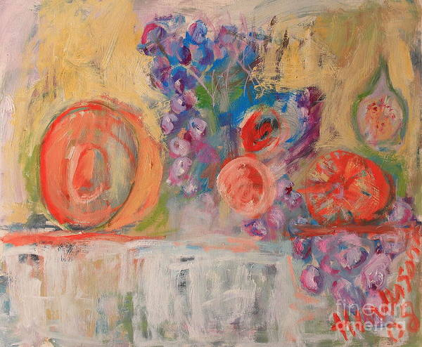 Stil Life Art Print featuring the painting Still Life with Melon and Fig by Michael Henderson