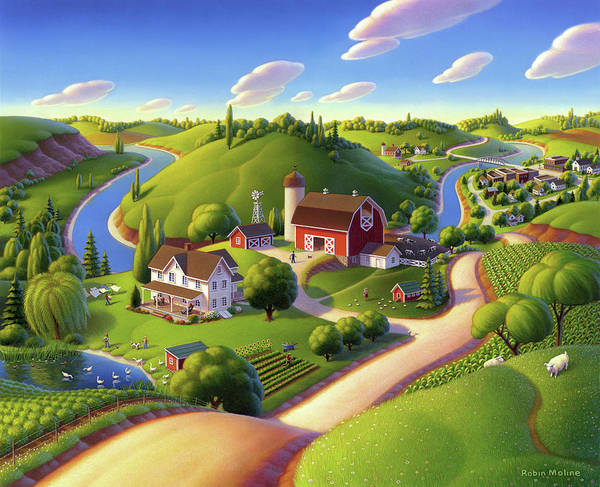 Farm Scene Art Print featuring the painting Summer Days by Robin Moline