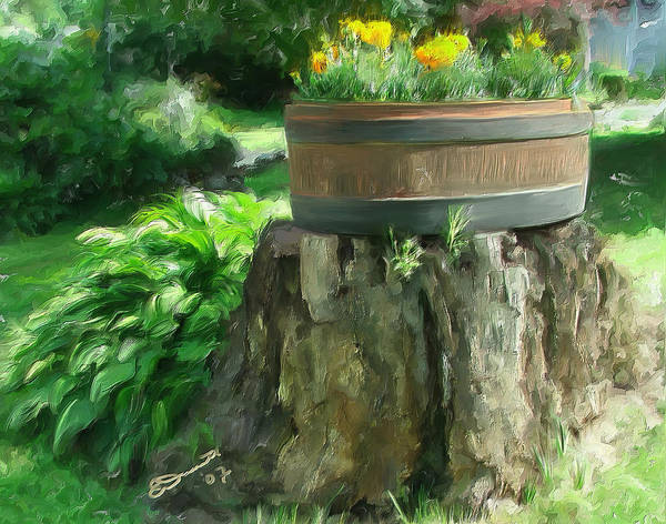 Landscape Planter Monadnock Nh New Hampshire Flowers Floral Green Art Print featuring the painting Summer in the Monadnocks by Eddie Durrett