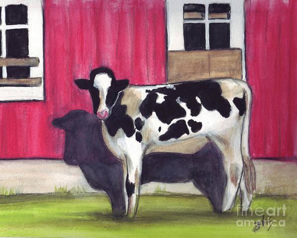 Cow Art Print featuring the painting Sunny side of the barn by Debra Sandstrom