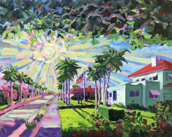 Deerfield Beach Art Print featuring the painting Sunny Sunday Morning by Ralph Papa